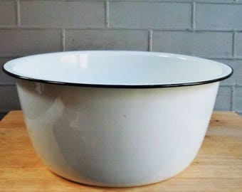 Vintage Enamelware / Large Round Tub / Lightweight / Charming useful antique / White with Black