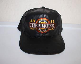 Vintage 90's Daytona Beach FL Bike Week Leather Hat by LS1