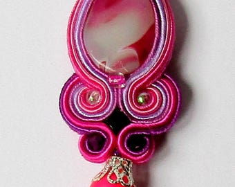 Pendant soutache Pink - Purple