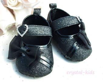 SALE ** Unique Baby Girls Black Sparkly Shoes Fairytale Reborn Christening Baptism Shoes Wedding Pram Shoes 0-3, 3-6, Months ** NOW 3.45