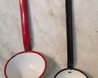 Enamel Ladles and Enamel Pot with Lid