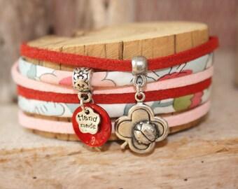 """Bracelet lucky charm """"a ladybug love"""" red & pink"""