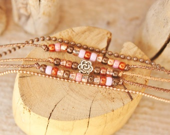 "Lumi ""Fiora"" Brown & copper beaded bracelet"
