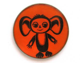 Cheburashka, Character from soviet cartoon, Vintage collectible badge, Soviet Vintage Pin, Vintage Badge, Made in USSR