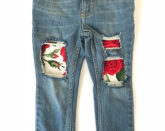 Sweetheart skinny jeans- baby jeans- toddler jeans- Valentine's Day- roses