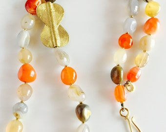 Africa Inspired Carnelian and Brass Pendant Long Necklace