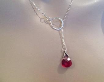Ruby Lariat Necklace, Infinity Necklace, July Birthstone Jewelry, Swarovski Crystal, Sterling Silver, Lariat Y Necklace, Ruby Necklace