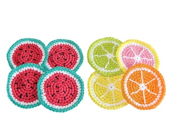Cotton Fruit Coasters, 4 Citrus coasters, 4 watermelon coasters, crochet coasters