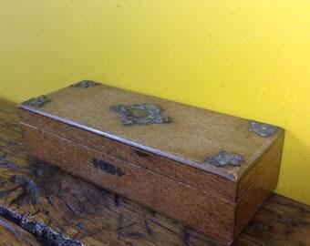 Vintage wooden and metal decorative box. Old wooden box. Glove box. Jewelry jewellery box. Trinket box.