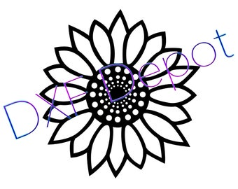 Geometric Flower .dxf format. CNC Cutting File - Vector Art - DXF File