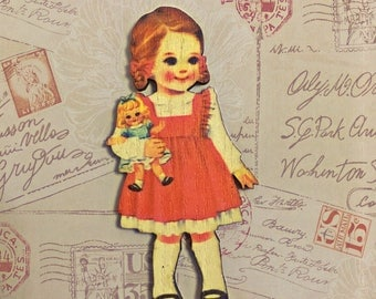 Retro Girl Brooch, Little Girl Jewelry, Girl Dressed in a Pink Dress Holding a Teddy bear, Vintage, 60's, 50's, Cute Wooden Laser Cut Pin