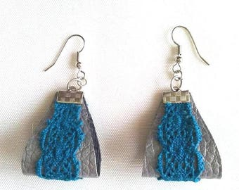 silver grey leather lace turquoise earrings