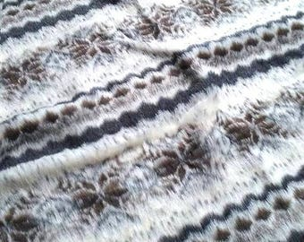fabric beige grey brown very soft fake fur printed Aztec