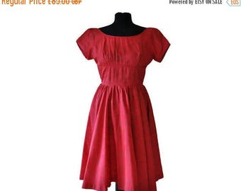 Summer Sale 1950's Red Dress // Vintage Red and Gold Full Skirted Dress // Small
