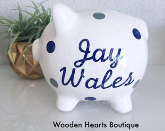 Piggy Bank, Large BLUE Piggy Bank, Personalized Bank, Custom Bank, Navy Bank, Baby Boy, First Birthday, Baby Shower Gift, Piggy Bank,