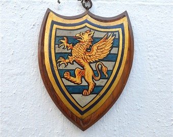Antique Cambridge University armourial wall plaque Downing college coat of arms shield crest