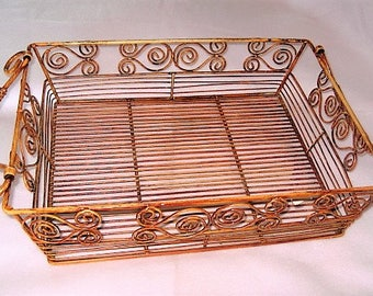 Rectangular Heavy Wire Tray Basket w/Hinged Handles
