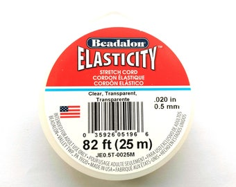 25 m (82ft) Spool Beadalon Elasticity 0.5 mm (.020'') Elastic Cord - CLEAR
