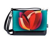 Floral Crossbody Bag, Shoudler Bag, Small Bag, Leather Bags Women, Small Shoudler Bag, Faux Leather Bag, Vegan Leather Bag, Spring flower