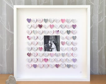 Wedding guest book alternative - wedding photo guest book frame - MEDIUM 72 hearts -wedding gift - unique guestbook - wedding photo art
