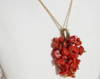 Coral pendant from Corsica on plated wire and vermeil gold