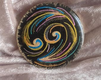 Black multicolor spiral cabochon, handmade, for various creations