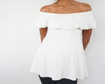 Off Shoulder Maternity Top with Ruffle Detail - Short Sleeve Top- White Knit Shirt with Ruffle - Pretty Maternity top-Dressy Maternity shirt