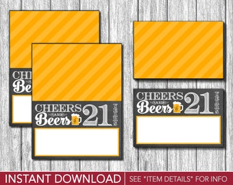 Cheers and Beers to 21 Years Tent Cards - Buffet Cards - Food Labels - Place Cards - Printable Digital File - INSTANT DOWNLOAD