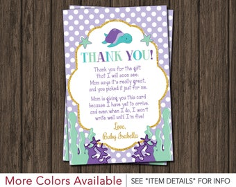Under the Sea Baby Shower Thank You Card • Purple, Lavender, Turquoise, Mint Green, and Gold