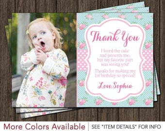 Floral Chic Thank You Card - Floral Chic Birthday Thank You Card