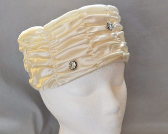 ON SALE: Beautiful Vintage Pillbox Hat - Cream Satin with Rhinestone Accents, 1950s or 1960s, Wedding Hat