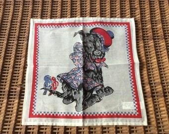 Cute Little Scottie Dog Birds Cotton Handkerchief Child's Vintage India ~ Darling!