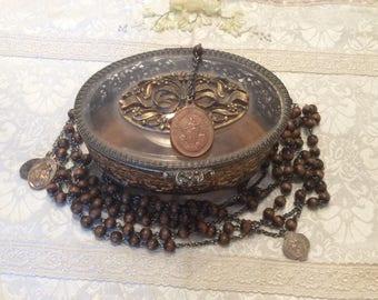 Antique Nun's 15 Decade Habit Boxwood 70 Inch Wood ROSARY 5 Medals / Casket Case ~  Breathtakingly Scarce