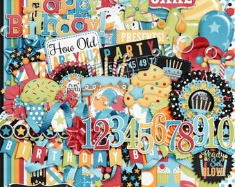On Sale 50% Off Birthday Wishes Boy Digital Scrapbook Kit