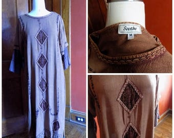 90s Brown Hippie Dress, 90s Boho Dress, Soothe, Size Medium, Long Brown Dress, Velvet Trim Dress, 90s Hippie Revival, 90s Does 60s, Size M