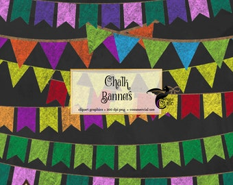 56 Chalkboard Multicolor Bunting Banners Clip Art, PNG Clipart set, Instant download party graphics for Commercial Use