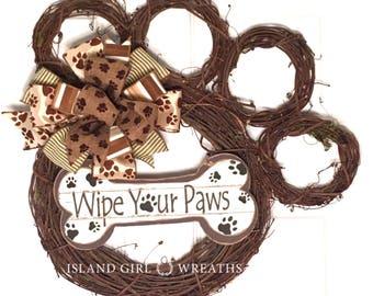 Dog wreath, Grapevine Dog Wreath, Grapevine Wreath, Wipe Your Paw Wreath, Paw Shape Wreath, Paw Print Ribbon