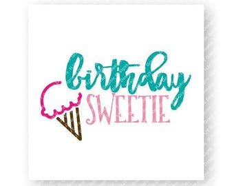 Birthday, Girl, Ice Cream Cone, Pink, Teal, Digital, Download, TShirt, Cut File, SVG, Iron on, Transfer