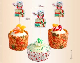 12pcs owl Cupcake Toppers