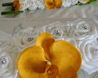 Gold/silver/white orchids like to customize Center table