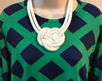 White Nautical Rope Knot Statement Necklace Additional Colors