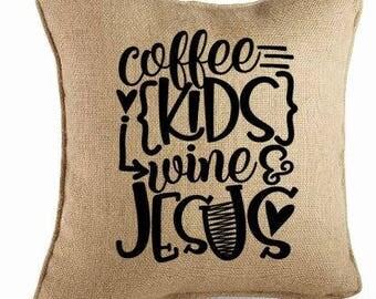 Coffee Jesus Pillow-Quote Pillow-Saying Pillow-Christian Burlap Pillow-Burlap Pillow-Burlap Throw Pillow-Decorative Pillow-Farmhouse Pillow