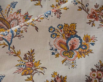 Antique french  cotton fabric, 1950s