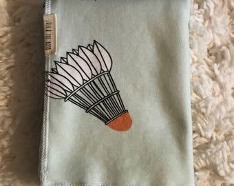 shuttlecocks baby blanket in mint//shuttlecocks swaddle blanket//shuttlecocks organic cotton blanket//shuttlecocks blanket