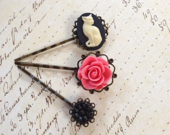 White On Black Kitty Cat And Floral Hair Clips