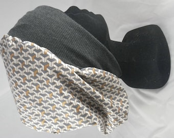 Bas098 - Cap chemo gray, beige, white and gold