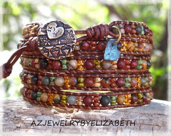 Beaded Wrap Bracelet/ Boho Seed Bead Leather Wrap Bracelet/ Bohemian Leather And Seed Bead Wrap Bracelet/ Gift For Her. *******