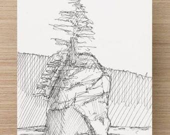 Ink Sketch of Seastack near 3rd Beach in Olympic National Park
