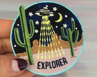 Explorer Patch - Outer Space UFO Alien - Area 51 Desert Cactus - Patches for Jackets - Embroidered Iron On, Wildflower + Co.