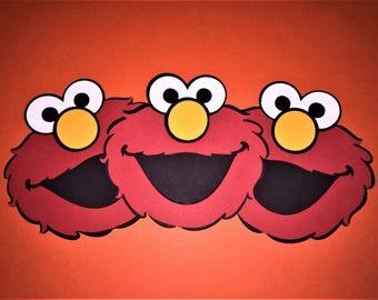 """Set of 12 - 3.5"""" Elmo Die Cuts Face 3.5 inch die cuts -  set of 12"""